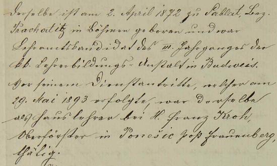 Záznam o jeho nástupu do školy v Kyselově provází stručný životopis, z něhož vyplývá, že Foschum předtím působil jako domácí učitel v rodině nadlesního Franze Kroha v Poněšicích u Hluboké nad Vltavou