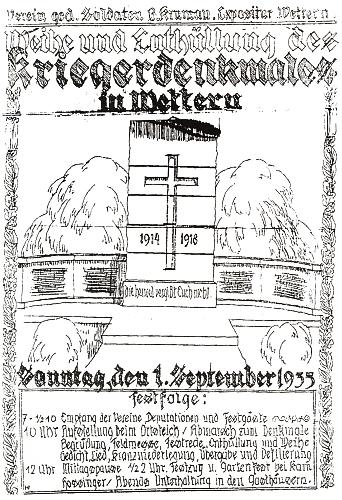 Jím signovaný návrh pozvánky (1935) k vysvěcení a odhalení památníku padlých z první světové války