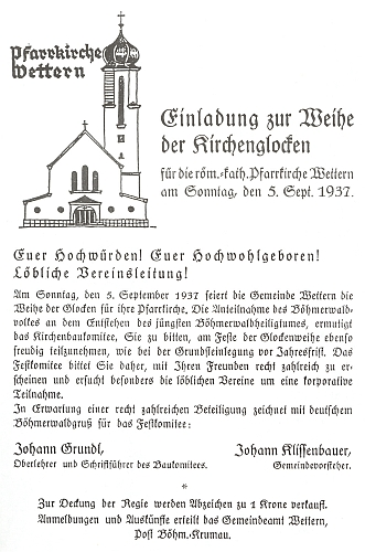 Pozvánka ke svěcení zvonů kostela ve Větřní dne 5. září roku 1937