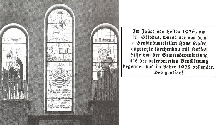 Nápis na okně kostela ve Větřní připomíná i skutečnost, že podnět k jeho stavbě v letech 1936-1938 dal Hans Spiro (zesnulý už v roce 1931, viz i Josef Beraus)