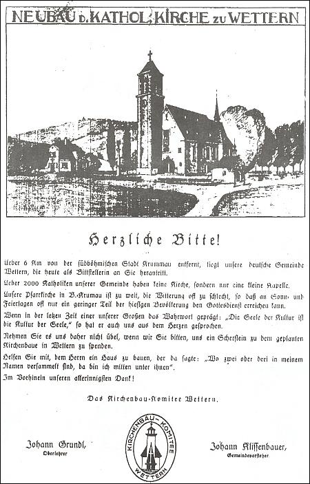 Kresba a razítko na prosbě o přispění na stavbu budoucího kostela ve Větřní zachycuje ještě původně zamýšlenou jeho podobu, jak ji navrhl Dr. Karel Kühn