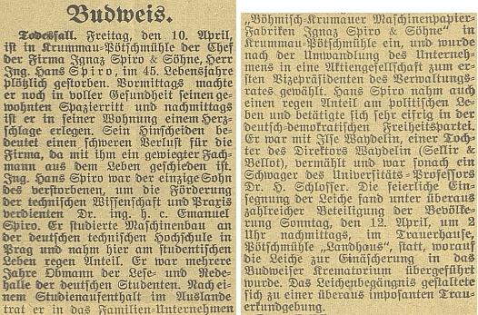 Nekrolog Ing. Hanse Spiro na stránkách českobudějovického německého listu v roce 1931