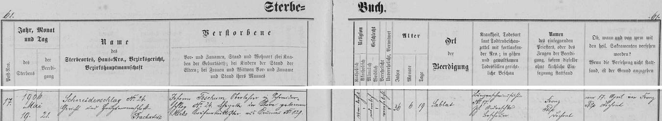 ZZáznam o skonu jeho otce Johanna Foschuma, učitele v Krejčovicích, v úmrtní matrice farní obce Záblatí