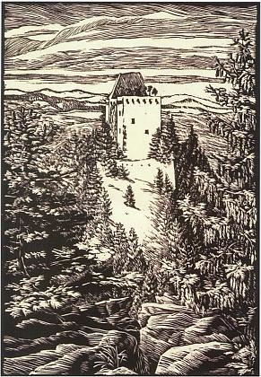 Hrad Kašperk na jiném jeho dřevorytu