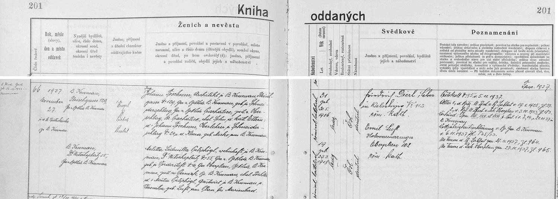 Záznam českokrumlovské knihy oddaných o jeho svatbě