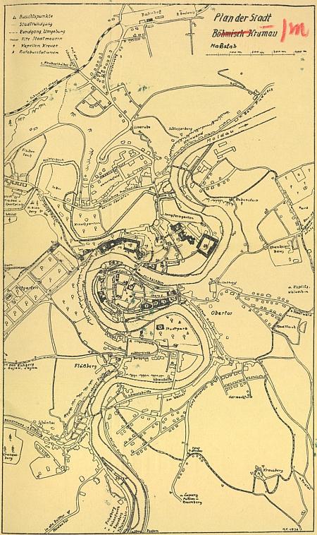 Jeho obálka, mapka a plánek s iniciálami HF a vročením 1936 k publikaci Německého sdružení pro cizinecký ruch v Českém Krumlově