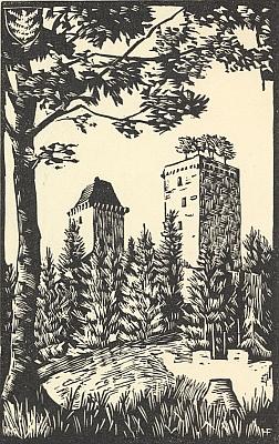 Grafika s motivem hradu Kašperk ztéto knihy