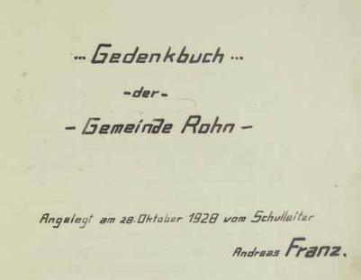 Titulní list leptačské kroniky, kterou v říjnu roku 1928 založil