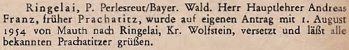 """V roce 1954 oznámil krajanský časopis přeložení """"hlavního učitele"""" Andrease Franze z bavorského Mauthu do Ringelai"""