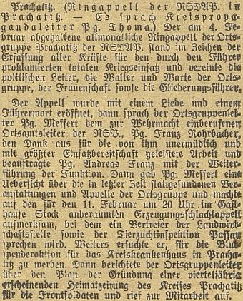 """Během válečných let nacházíme v novinové zprávě zPrachatic u jména Andreas Franz zkratku """"Pg."""", což by věru o nestranickosti nesvědčilo - ostatně ufunkcionářů NSDAP se jistě nepředpokládala"""
