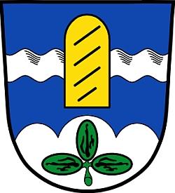 Znak bavorské obce Ringelai se zlatým hraničním kamenem s pozadím stříbrného vlnitého břevna v modrém poli, doleji na pozadí bílého horského trojvrcholu zelený jetelový trojlístek