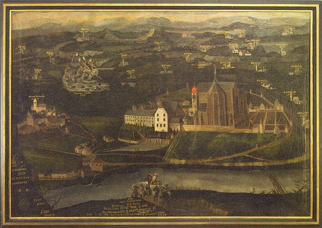 Klášter a město Vyšší Brod na obraze z roku 1685, který popsal v katalogu k česko-rakouské zemské výstavě roku 2013