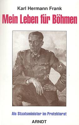 """Obálka (1994) nového vydání knihy o bratrovi v nakladatelství Arndt v Kielu, jejímž byl vydavatelem, s pozměněným titulem, který případnému českému čtenáři radost neudělá, sám text je pak uveden citátem z dopisu Josefa Hieße Ernstu Frankovi """"Věřím, že můj národ nezahyne, dokud stojí bratr při bratrovi"""", docela dobře ilustrujícím, co všechno si lze představit pod pojmem """"národ"""""""