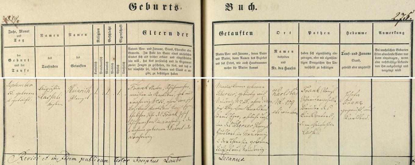 Jeho otec, narozený dne 25. září roku 1859 v Karlových Varech a pokřtěný téhož dne jménem Heinrich Wenzel Frank, byl podle tohoto svědectví karlovarské matriky z otcovy strany vnukem drahovického ševce Josefa Franka a jeho ženy Rosiny, roz. Deimlové rovněž z Drahovic, ze strany mačiny pak vnukem Wenzla Scherzera, domkáře z Nové Tuhnice, a Theresie, roz. Seifertové, rovněž z Nové Tuhnice, dnes součásti Karlových Varů