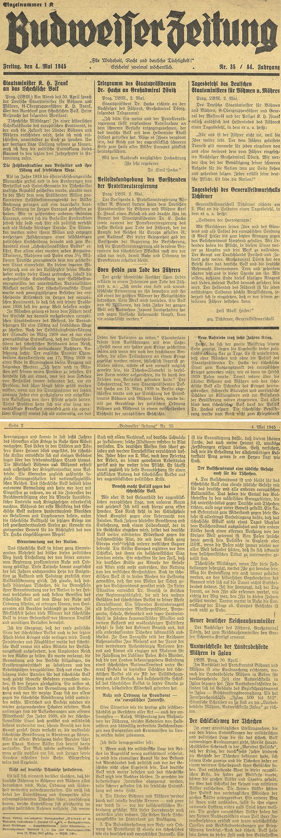 """Tady končí na prvých stranách posledního čísla českobudějovického německého listu z května 1945 rozhlasový projev jeho bratra z 30. dubna 1945 """"k českému lidu"""" varovnými slovy: """"Dějiny Evropy nejsou ještě u konce"""""""