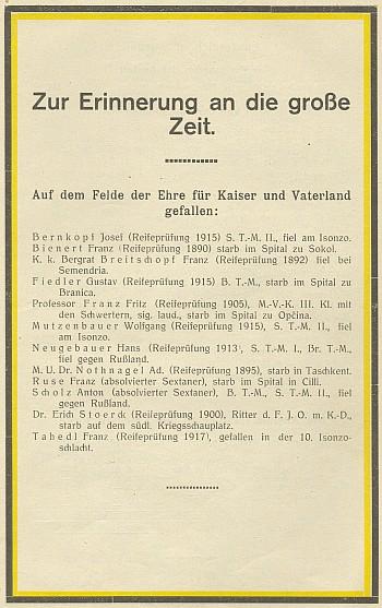 Na seznamu padlých ve výroční zprávě Státního gymnázia vKrumlově (viz i Johann Doležal)
