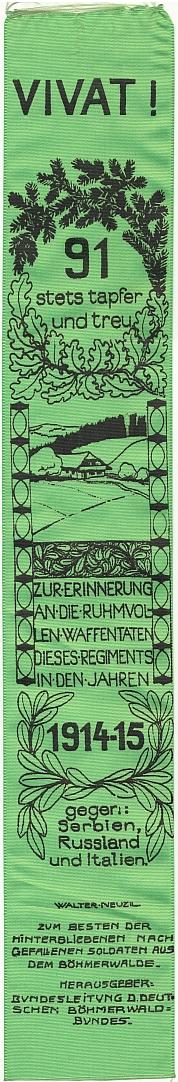 Stuha vydaná českobudějovickým Böhmerwaldbundem ve prospěch pozůstalých po padlých Šumavanech z91.pěšího pluku v letech 1914-1915