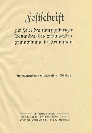 Titulní list sborníku k jubileu gymnázia s jeho posmrtně otištěným textem