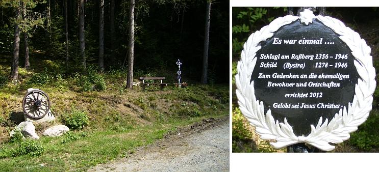 Památník obcí Čižkrajice (Schlagel am Rossberg) a Bystrá (Schild), o nichž se rovněž zmiňuje - o pietní úpravu místa, připomínající zaniklou obec, se zasloužil Werner Lehner