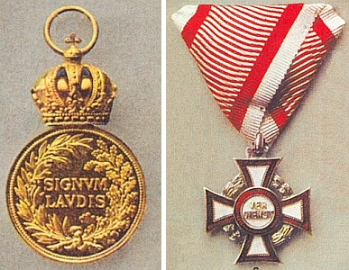 Vojenská záslužná medaile Signum laudis a Vojenský záslužný kříž III. třídy