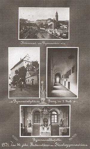 Budova německého gymnázia v Krumlově, dnešního českokrumlovského muzea, chodba aškolní kaple na snímcích zkroniky školy k jejímu jubileu - foto Josef Wolf