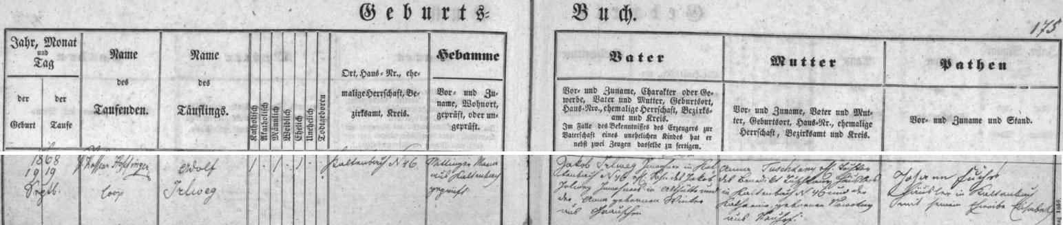 Záznam křestní matriky farní obce Nový Svět o narození dědově v Kaltenbachu čp. 46