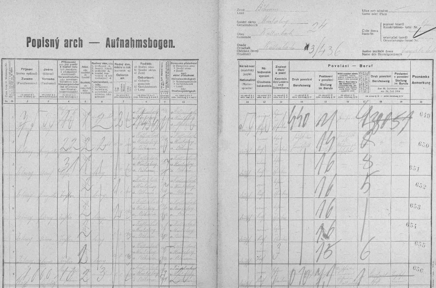 Arch sčítání lidu z roku 1921 pro stavení čp. 67 v Kaltenbachu s dědovou a babiččinou rodinou