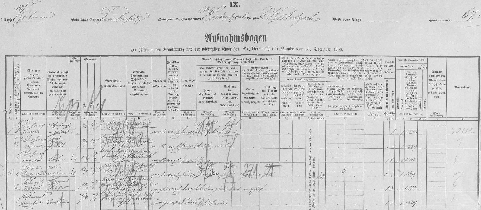 Arch sčítání lidu z roku 1900 pro stavení čp. 67 v Kaltenbachu zaznamenává manžele Irlwegovy se synem Adolfem arodinou podruha Schreiba