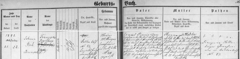 Záznam křestní matriky farní obce Nový Svět o narození babiččině v Kaltenbachu čp. 83