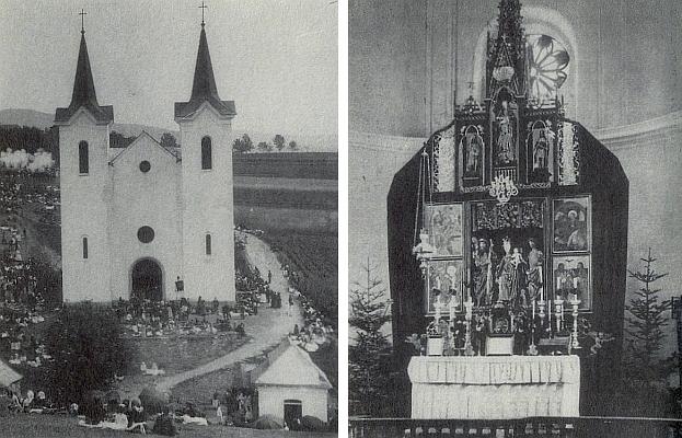 Poutní kostel Panny Marie Sněžné u Kašperských Hor o pouti a jeho oltář, jak kdysi vyhlížel