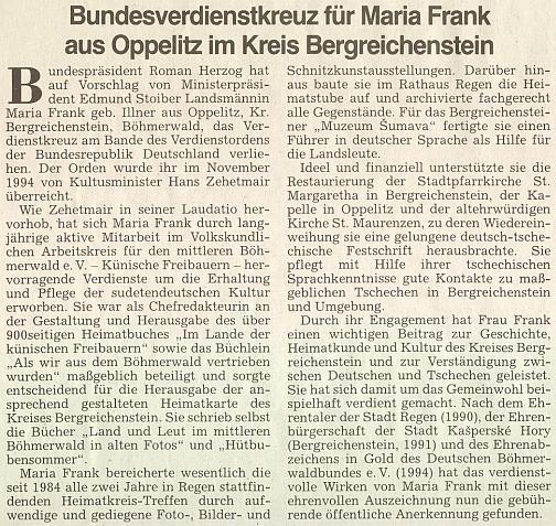 Článek oficiálního orgánu krajanského sdružení k udělení záslužného kříže Spolkové republiky Německo v roce 1995 (viz výše)