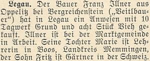 Zpráva o jejím otci a jeho selské usedlosti vLegau poválce se zmínkou o dceři učitelce a synu zahradníku ve Švýcarsku