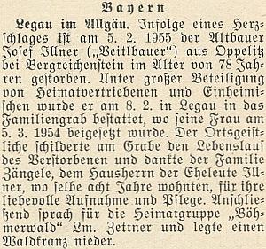 Zpráva o úmrtí jejího otce v únoru roku 1955 nastránkách krajanského měsíčníku