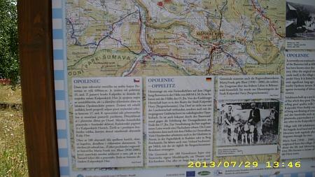 Informační tabule v Opolenci se zmínkou o ní