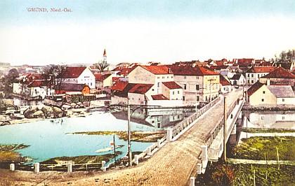 Gmünd (česky Cmunt v Rakousích) s mostem přes Lužnici, pohlednice z r. 1907
