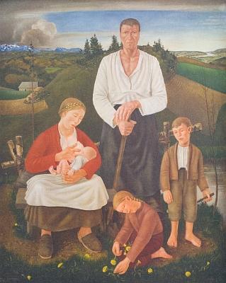 Obraz Selská rodina rakouského malíře Fritze Fröhlicha (1910-2001) z roku 1937