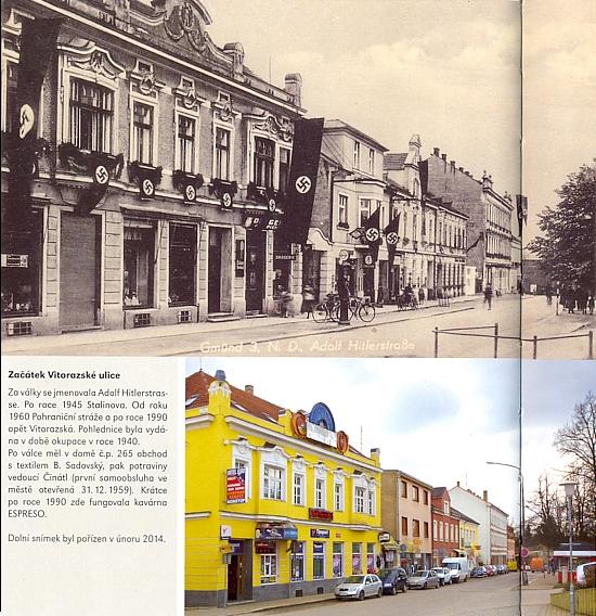 Začátek Vitorazské ulice v Českých Velenicích se stručným výčtem historie toho místa