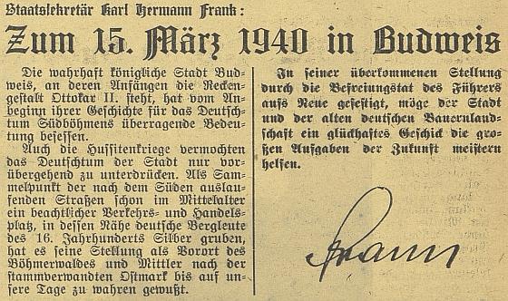 Jeho text uveřejněný 16. března 1940 v českobudějovickém německém listě