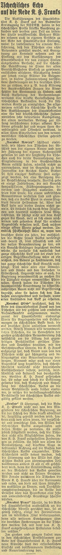 """... a """"české ohlasy"""" na tento projev v českobudějovickém německém listu"""
