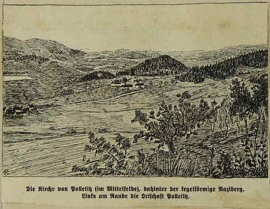 Výstřižek v boletické školní kronice s kresbou místního kostela uprostřed, kuželovitý vrch Raciberk za ním, ves Boletice vlevo při okraji