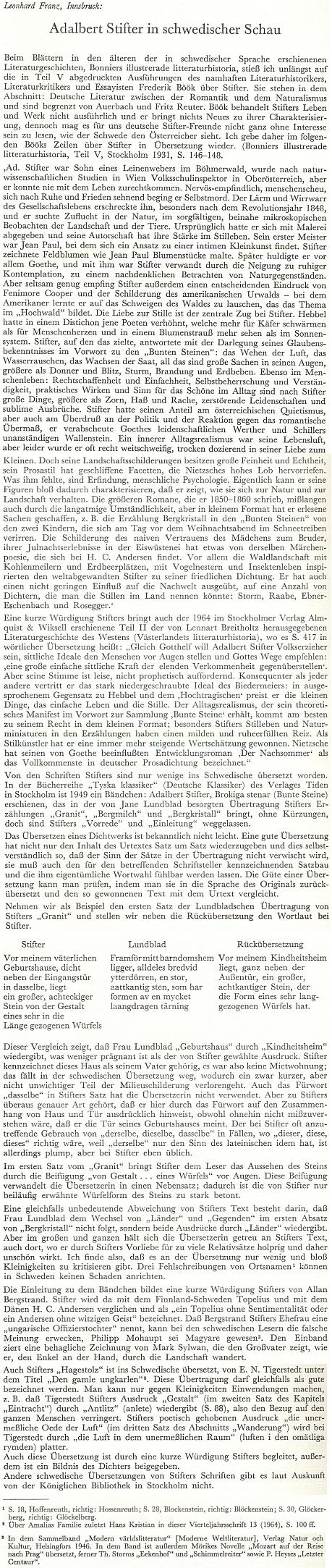 """Jeho text o Adalbertu Stifterovi """"ze švédského pohledu"""""""