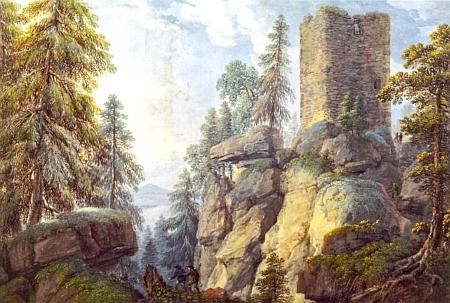 Kvaš Ferdinanda Runka z roku 1803 má název Pohled na Kunžvart
