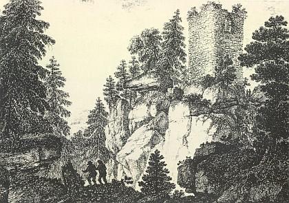 Zřícenina hradu Kunžvart na kresbě Pauliny Schwarzenberg, která byla Runkovou žačkou a kreslila zjevně podle jeho obrazu