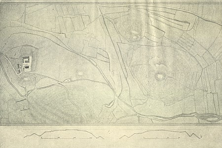 Polohopisná mapka a terénní profil hradiště Raciberk