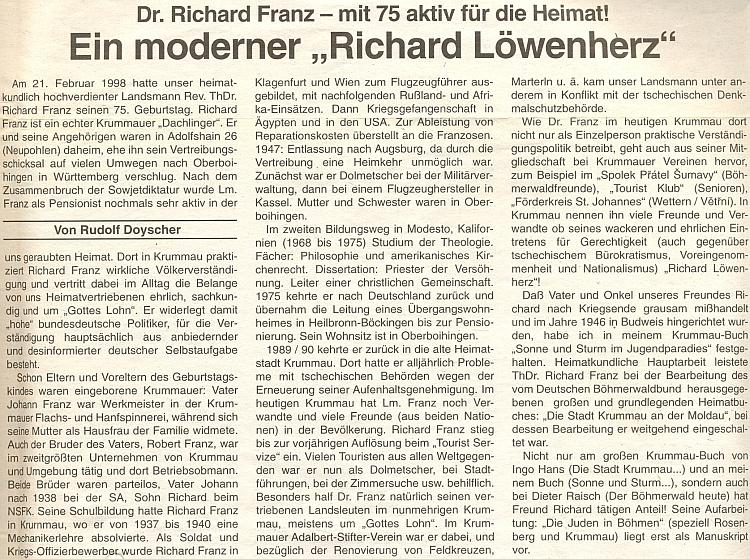 Rudolf Doyscher o něm napsal do rakouského krajanského listu tento pozdravný článek
