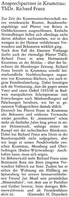 O něm na stránkách téhož periodika v příspěvku, který sem zaslal Helmut Doyscher