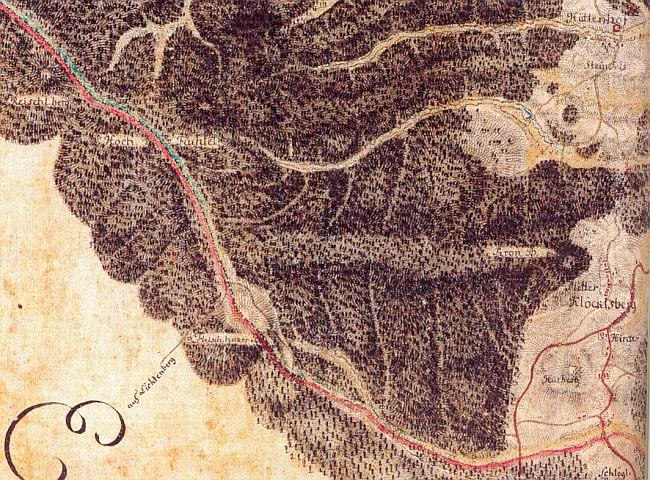"""""""Kolmateich"""" jako modrá slza na na staré lesní mapě okolí Huťského Dvora a Zvonkové"""