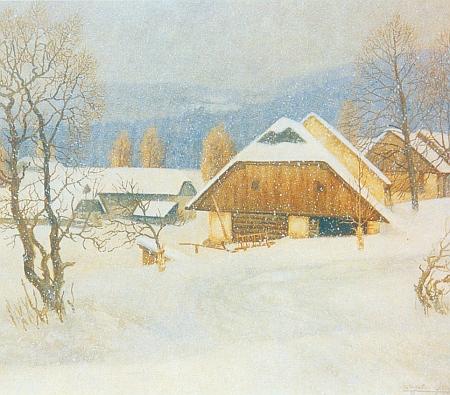 Josefův Důl v zimě na olejomalbě Wilhelma Fischera...