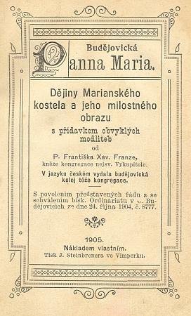 Titulní list a frontispis české verze jeho knihy, vydané v roce 1905 vlastním nákladem a tiskem Steibrenerů ve Vimperku
