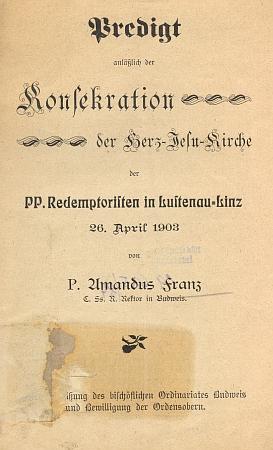 Titulní list k textu jeho kázání v Linci zdubna 1903